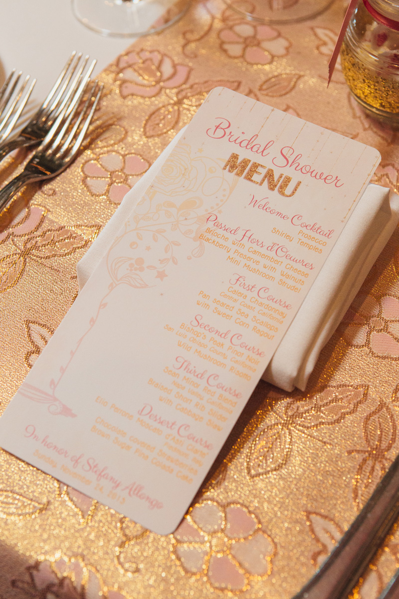 Pink and Gold Glitter Bridal Shower Menu Cards | The Majestic Vision Wedding Planning | Cafe Chardonnay in Palm Beach, FL | www.themajesticvision.com | Robert Madrid Photography