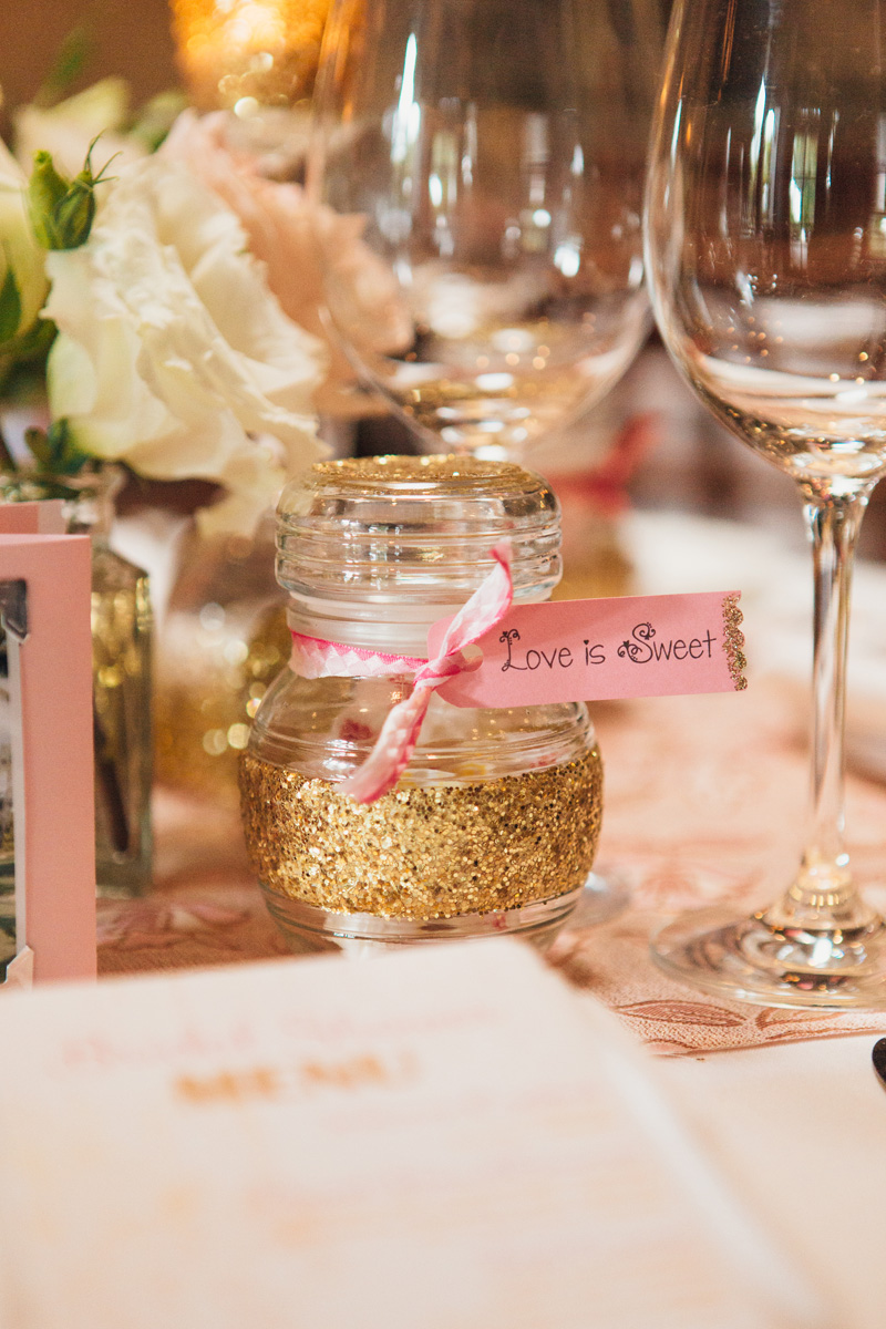 Pink and Gold Glitter Bridal Shower Guest Favor | The Majestic Vision Wedding Planning | Cafe Chardonnay in Palm Beach, FL | www.themajesticvision.com | Robert Madrid Photography