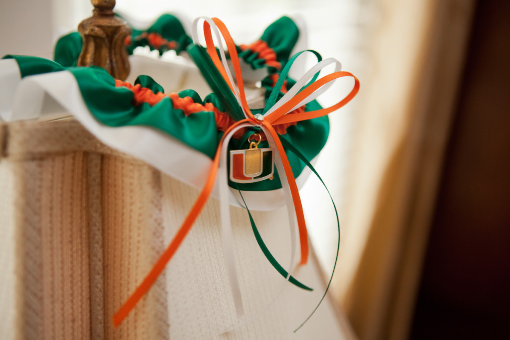 University of Miami Garter | The Majestic Vision Wedding Planning | Ann Norton Sculpture Garden in Palm Beach, FL | www.themajesticvision.com | Dove Wedding Photography