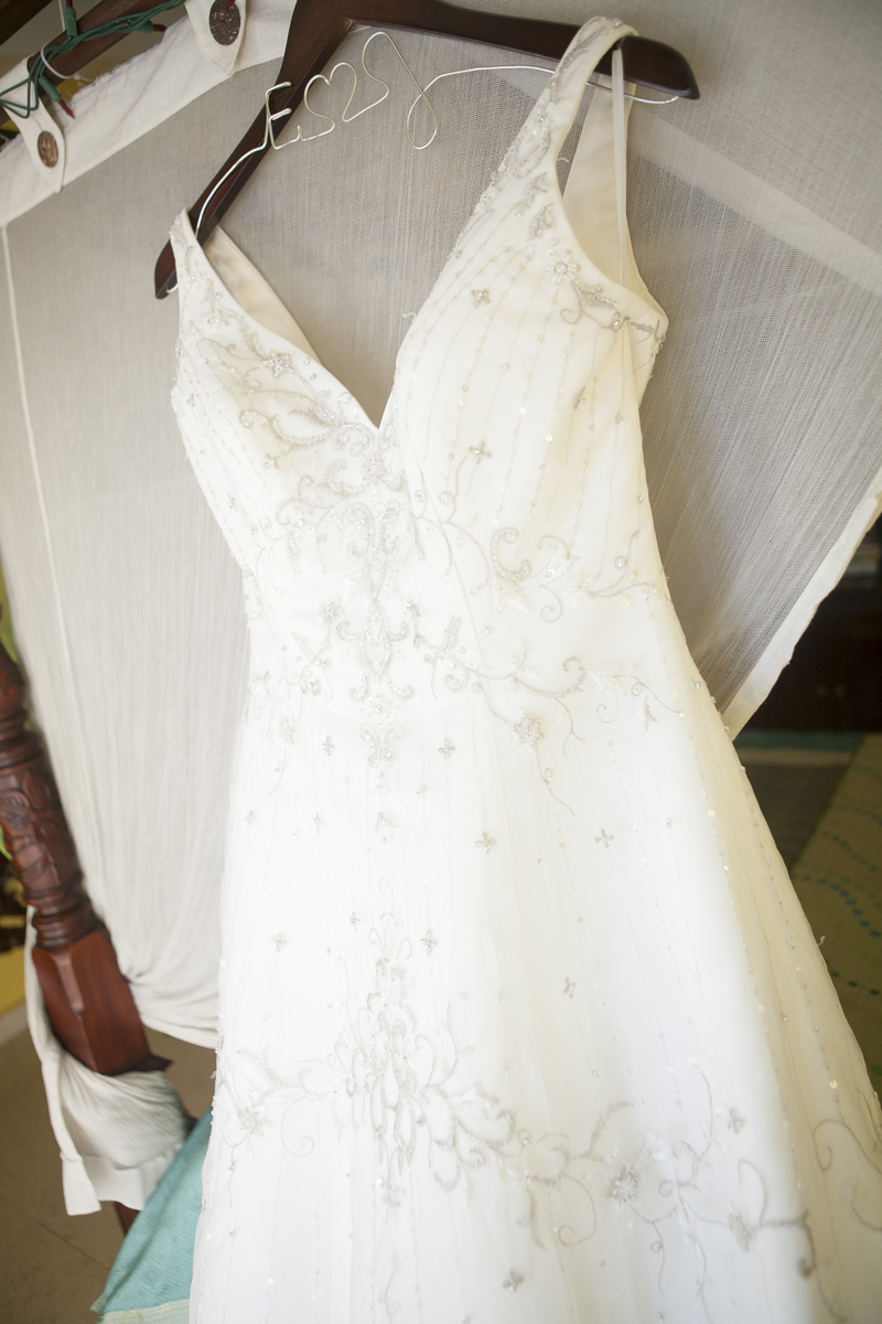 Lovely V-Neck Wedding Gown | The Majestic Vision Wedding Planning | Villas Mar Azure in Ponce, PR | www.themajesticvision.com | Shay Cochrane Photography