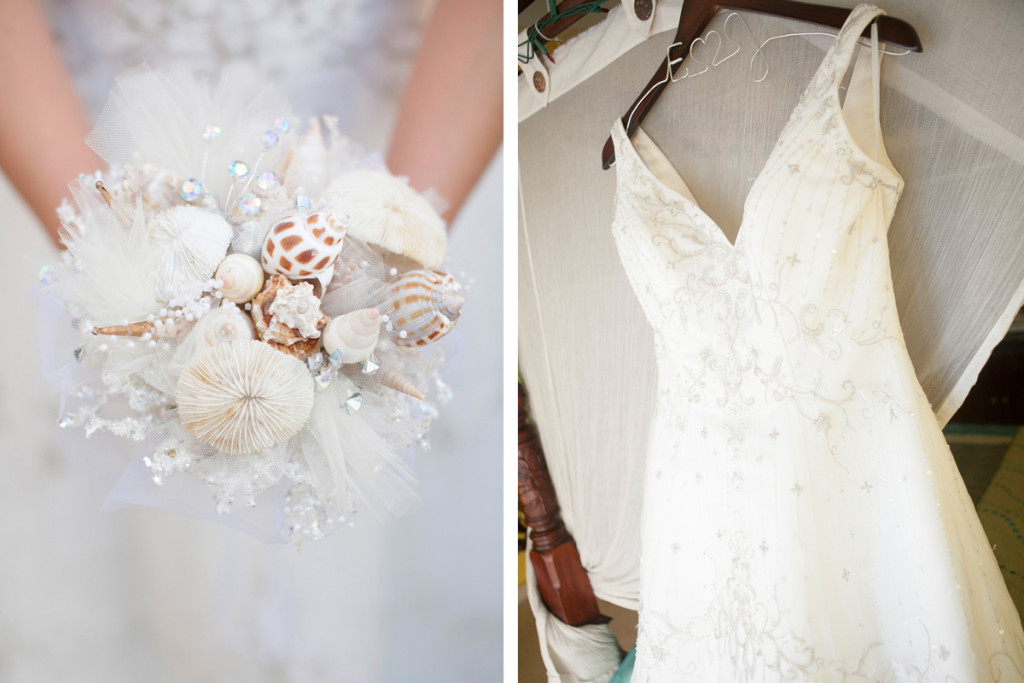 Gorgeous Seashell Bridal Bouquet | The Majestic Vision Wedding Planning | Villas Mar Azure in Ponce, PR | www.themajesticvision.com | Shay Cochrane Photography