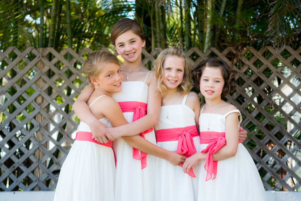Simple White and Coral Flower Girl Dresses | The Majestic Vision Wedding Planning | Palm Beach Shores Community Center in Palm Beach, FL | www.themajesticvision.com | Chris Kruger Photography