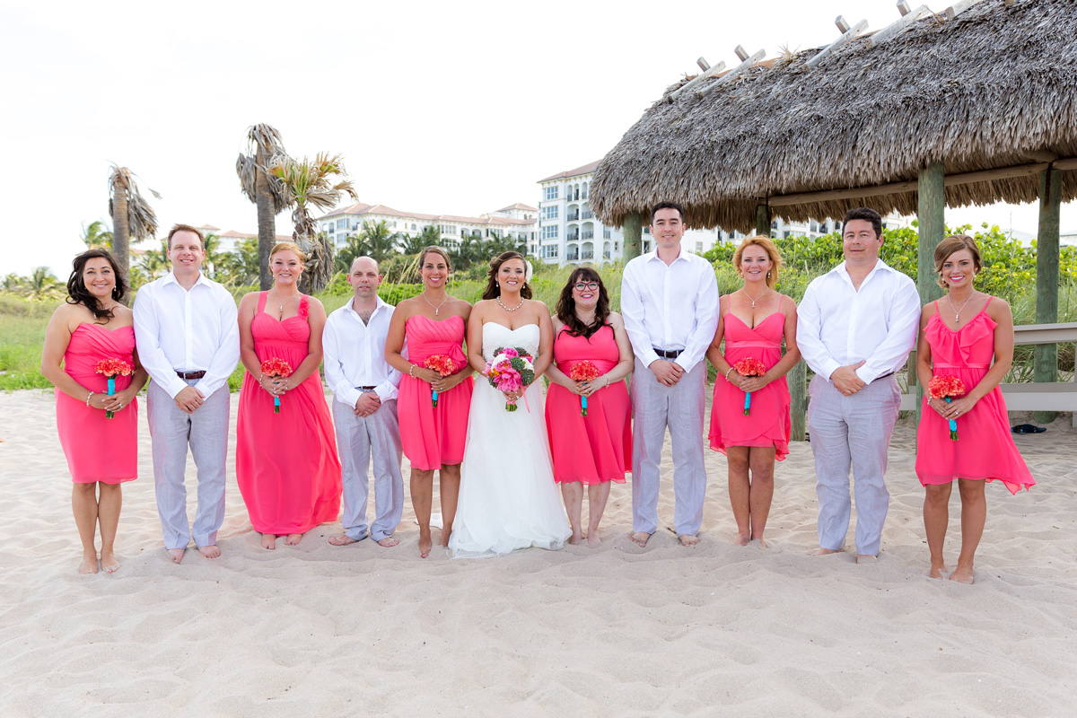 Laid-back Bridal Party Wearing Coral and Blue | The Majestic Vision Wedding Planning | Palm Beach Shores Community Center in Palm Beach, FL | www.themajesticvision.com | Chris Kruger Photography