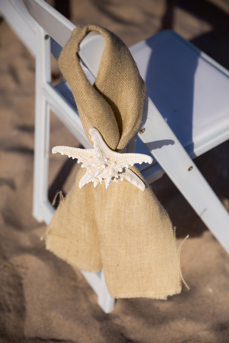 Starfish and Burlap Beach Ceremony Aisle Decor | The Majestic Vision Wedding Planning | Palm Beach Shores Community Center in Palm Beach, FL | www.themajesticvision.com | Chris Kruger Photography