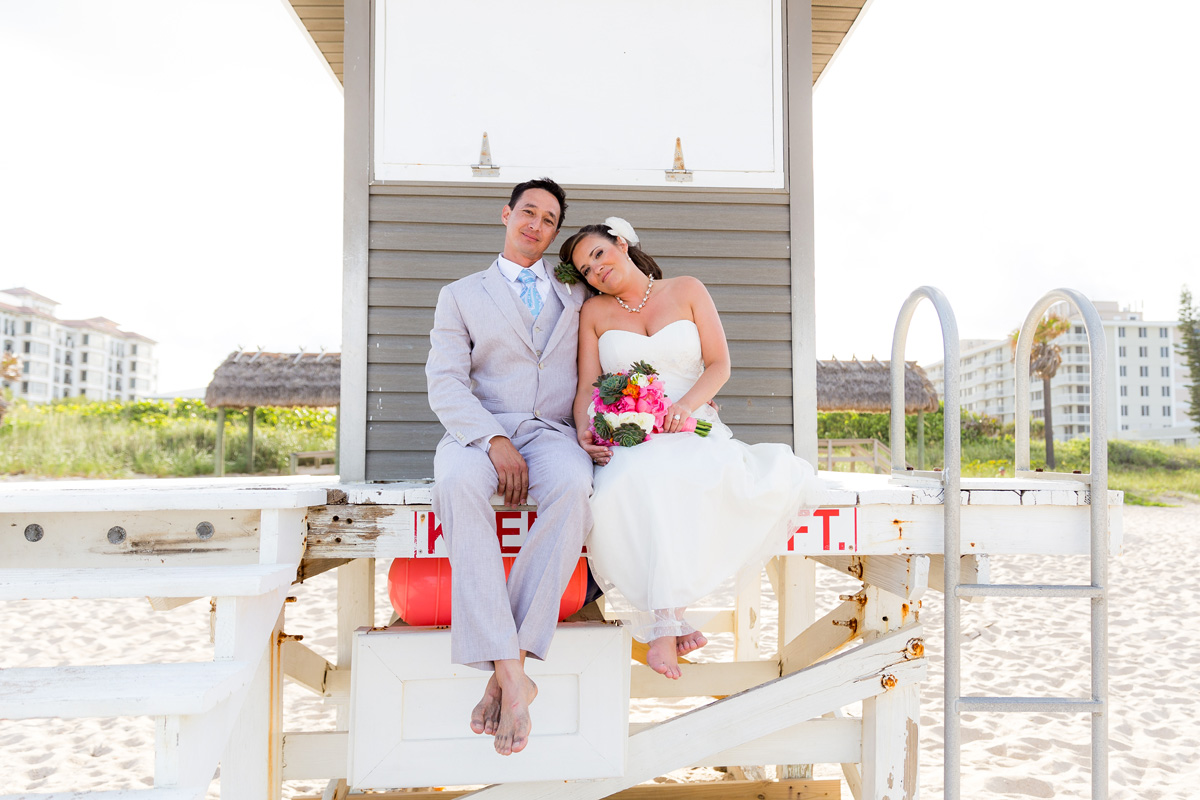 Laid-back Bridal Portrait on Lifeguard Stand | The Majestic Vision Wedding Planning | Palm Beach Shores Community Center in Palm Beach, FL | www.themajesticvision.com | Chris Kruger Photography