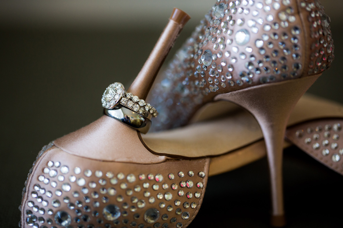 Elegant Wedding Rings with Badgley Mischka Shoes | The Majestic Vision Wedding Planning | Palm Beach Shores Community Center in Palm Beach, FL | www.themajesticvision.com | Chris Kruger Photography
