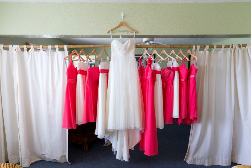 Flowy Wedding Gown with Coral Bridesmaid Dresses | The Majestic Vision Wedding Planning | Palm Beach Shores Community Center in Palm Beach, FL | www.themajesticvision.com | Chris Kruger Photography