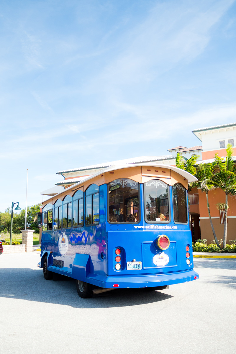 Classic Blue Trolley for the Bridal Party | The Majestic Vision Wedding Planning | Palm Beach Shores Community Center in Palm Beach, FL | www.themajesticvision.com | Chris Kruger Photography