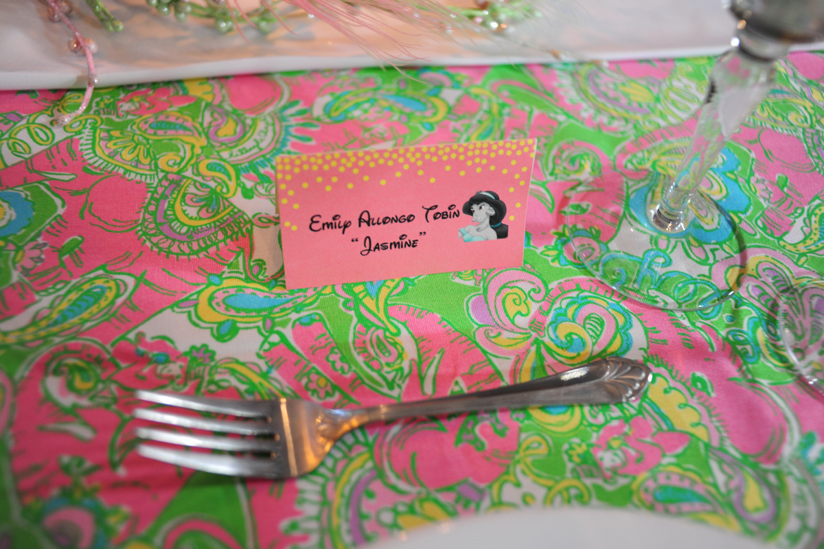 Pink and Green Disney Side Party Place Card | The Majestic Vision Wedding Planning | Palm Beach, FL | www.themajesticvision.com | Emily Allongo Photography