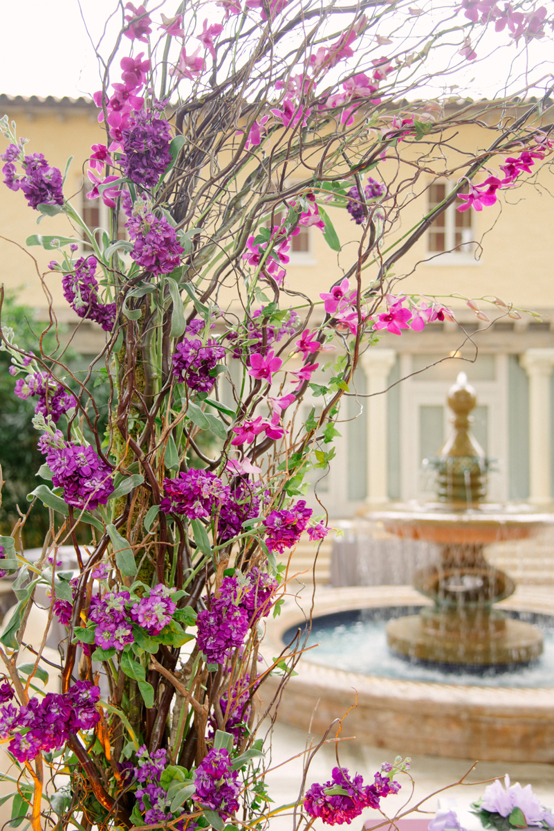 Elegant Wedding Ceremony Arch with Stunning Purple Orchids | The Majestic Vision Wedding Planning | The Addison Boca in Palm Beach, FL | www.themajesticvision.com | Starfish Studios