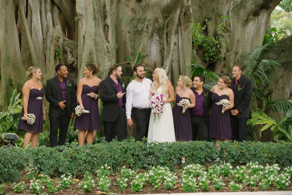 Elegant Bridal Party Portrait Under Banyan Tree | The Majestic Vision Wedding Planning | The Addison Boca in Palm Beach, FL | www.themajesticvision.com | Starfish Studios