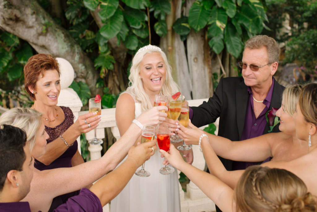 Post-Ceremony Bridal Party Toast | The Majestic Vision Wedding Planning | The Addison Boca in Palm Beach, FL | www.themajesticvision.com | Starfish Studios