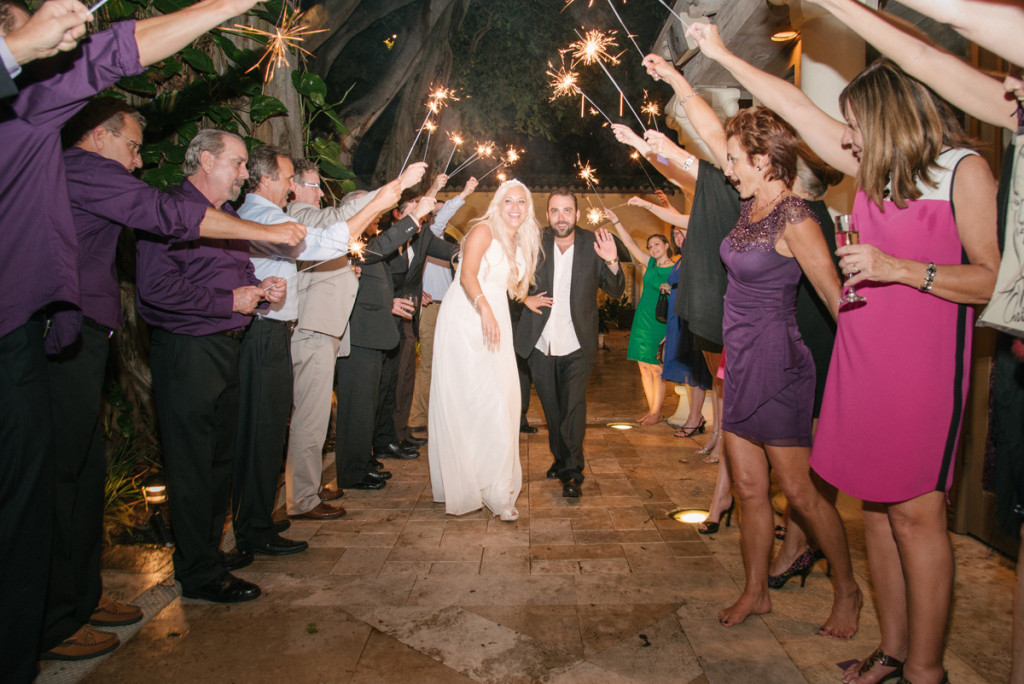 Fun Sparkler Grand Exit | The Majestic Vision Wedding Planning | The Addison Boca in Palm Beach, FL | www.themajesticvision.com | Starfish Studios