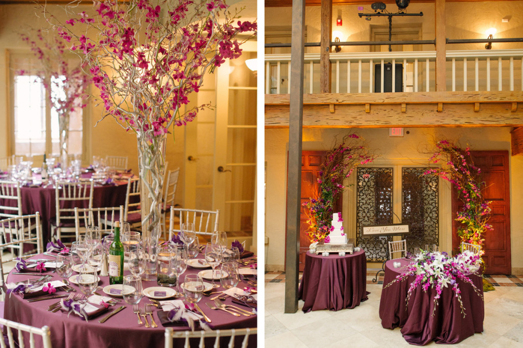 Elegant Centerpiece with Silver Manzanita Tree and Purple Orchids | The Majestic Vision Wedding Planning | The Addison Boca in Palm Beach, FL | www.themajesticvision.com | Starfish Studios