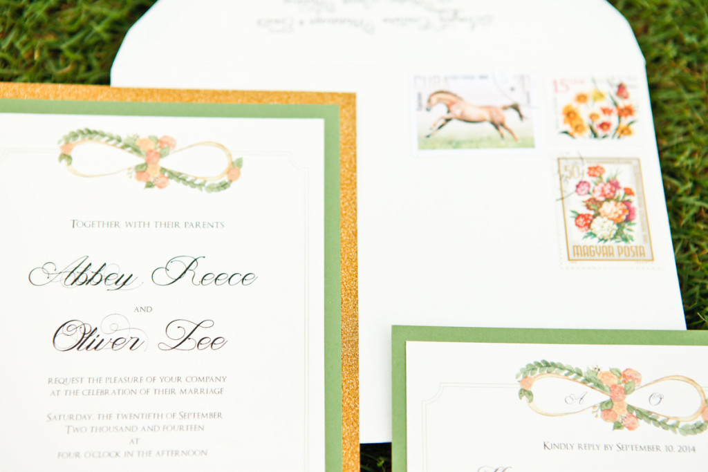 Elegant Gold Glitter Wedding Invitations | The Majestic Vision Wedding Planning | International Polo Club in Palm Beach, FL | www.themajesticvision.com | Krystal Zaskey Photography