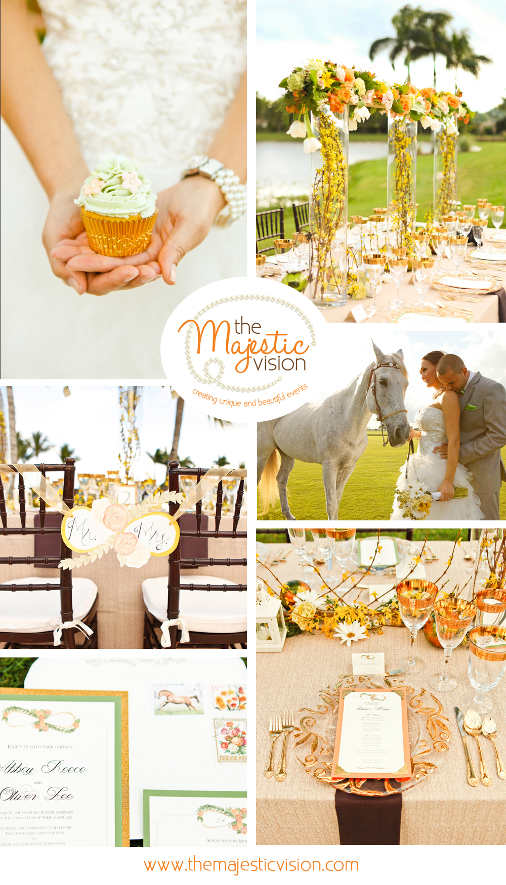 Elegant Orange and Gold Polo Club Wedding | The Majestic Vision Wedding Planning | International Polo Club in Palm Beach, FL | www.themajesticvision.com | Krystal Zaskey Photography