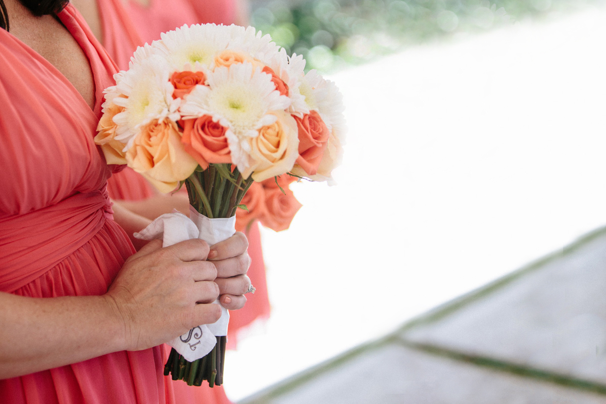 Elegant Coral, Pink and White Bridesmaid Bouquet | The Majestic Vision Wedding Planning | Marriott Singer Island in Palm Beach, FL | www.themajesticvision.com | Robert Madrid Photography