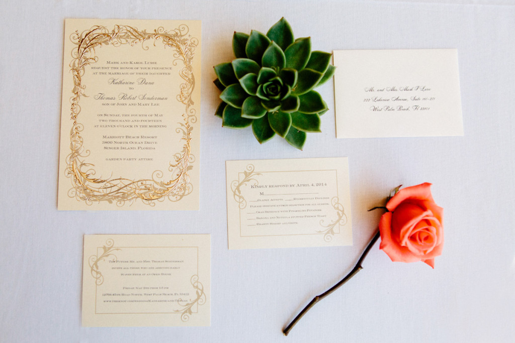 Elegant Letterpress Wedding Invitation Suite | The Majestic Vision Wedding Planning | Marriott Singer Island in Palm Beach, FL | www.themajesticvision.com | Robert Madrid Photography