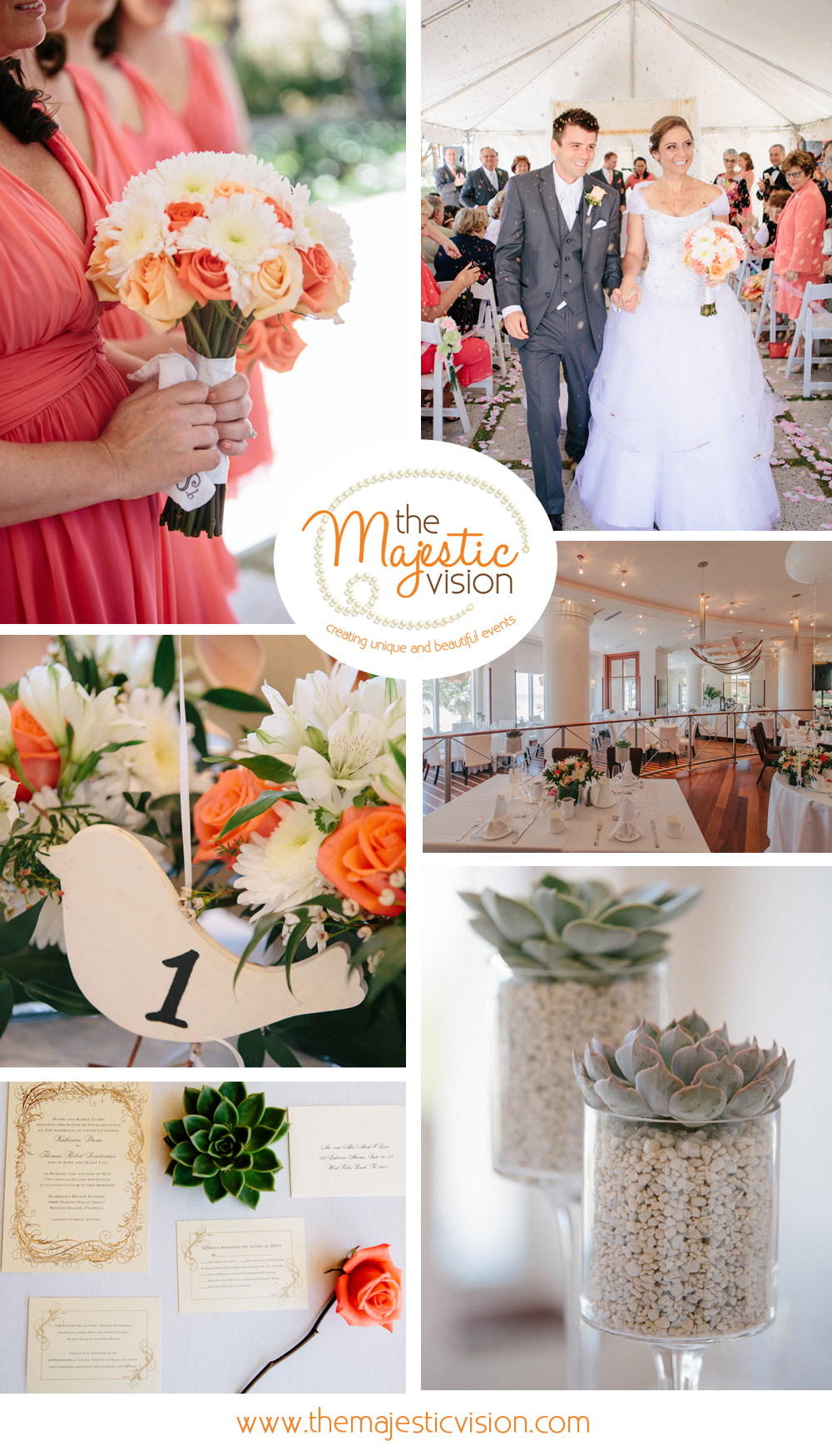 Modern White, Pink, Orange and Green Wedding Reception | The Majestic Vision Wedding Planning | Marriott Singer Island in Palm Beach, FL | www.themajesticvision.com | Robert Madrid Photography