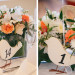 Modern Centerpieces with White Roses and Orange Roses and Bird Table Number at Marriott Singer Island in Palm Beach, FL thumbnail