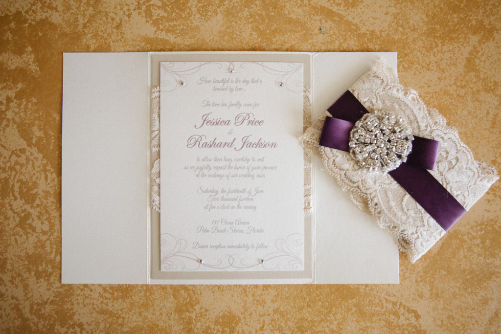 Elegant Purple and Lace Wedding Invitation | The Majestic Vision Wedding Planning | Sailfish Marina in Palm Beach, FL | www.themajesticvision.com | Robert Madrid Photography