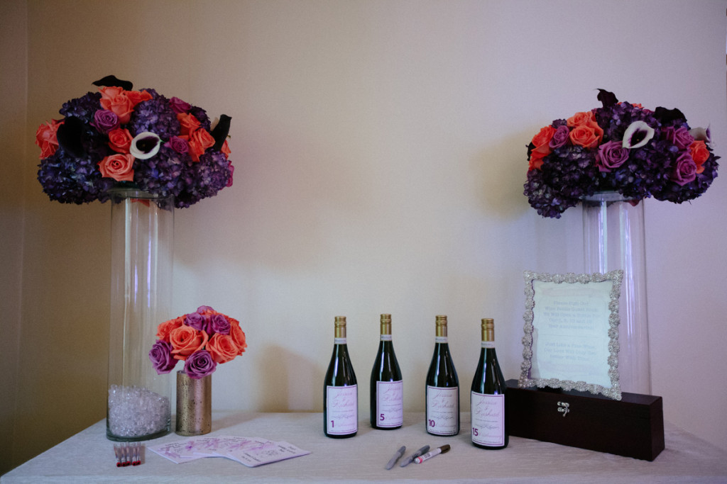 Elegant Wine Bottle Guest Book Table   The Majestic Vision Wedding Planning   Sailfish Marina in Palm Beach, FL   www.themajesticvision.com   Robert Madrid Photography