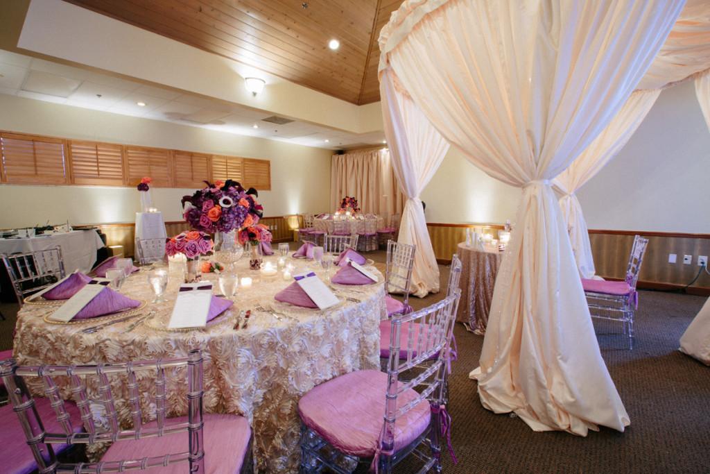 Elegant Purple, Coral and Cream Wedding Reception   The Majestic Vision Wedding Planning   Sailfish Marina in Palm Beach, FL   www.themajesticvision.com   Robert Madrid Photography