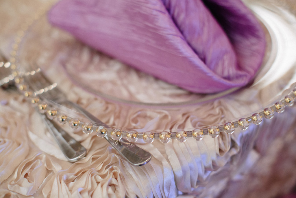 Elegant Beaded Charger on Rosette Linen | The Majestic Vision Wedding Planning | Sailfish Marina in Palm Beach, FL | www.themajesticvision.com | Robert Madrid Photography