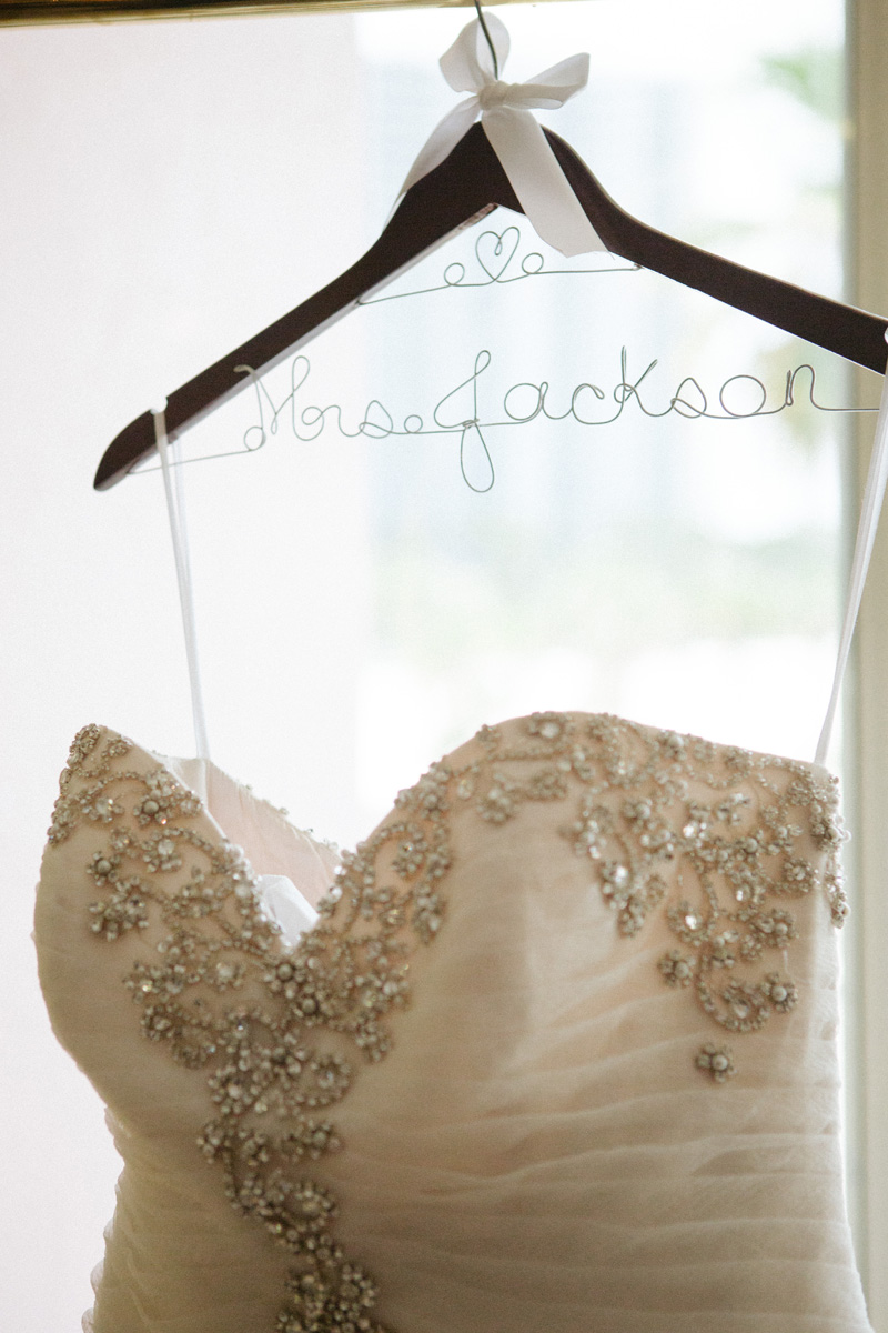 Stunning Pnina Tornai Bridal Gown on Personalized Hanger | The Majestic Vision Wedding Planning | Sailfish Marina in Palm Beach, FL | www.themajesticvision.com | Robert Madrid Photography