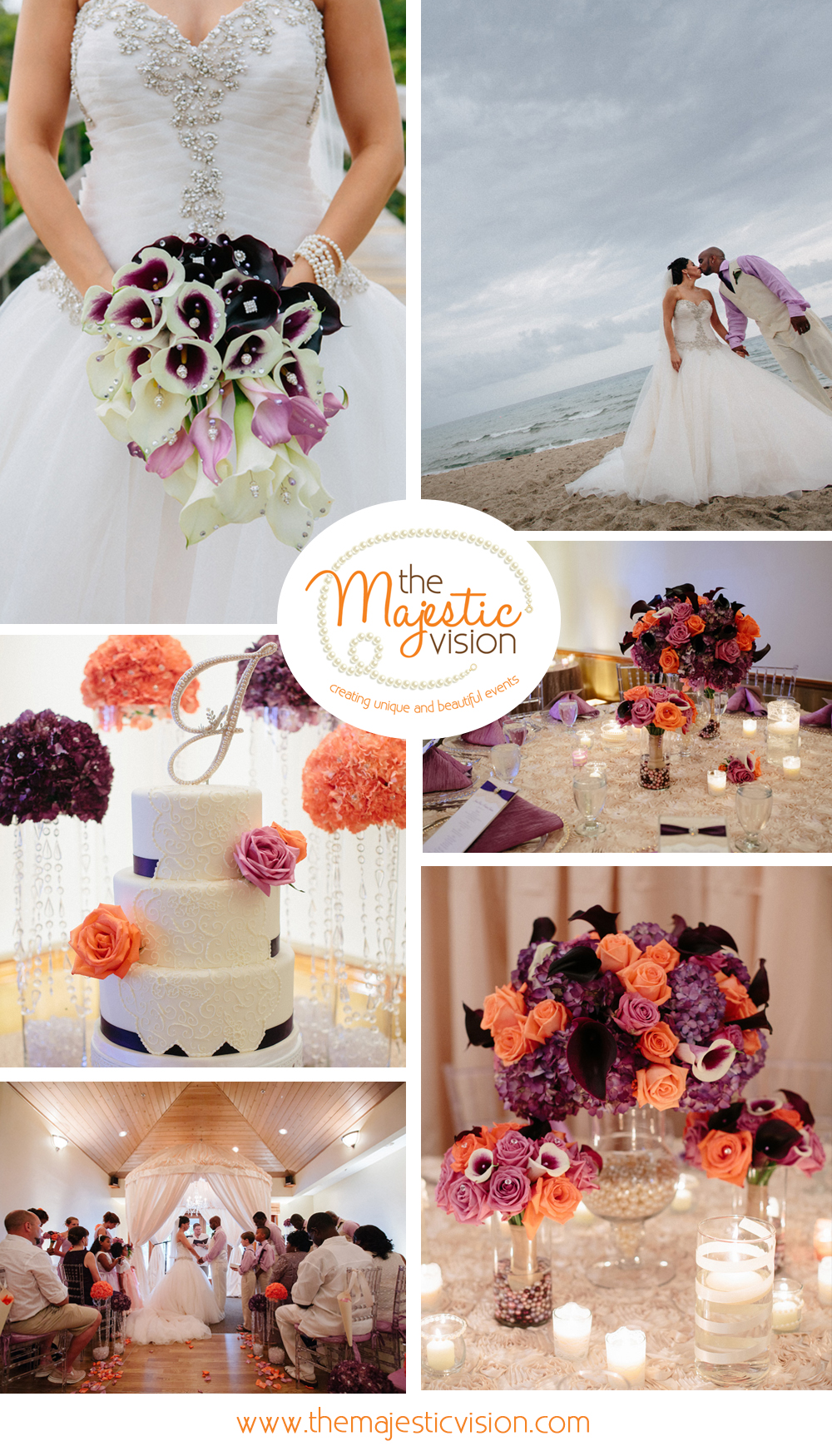 Elegant Purple and Coral Waterfront Wedding | The Majestic Vision Wedding Planning | Sailfish Marina in Palm Beach, FL | www.themajesticvision.com | Robert Madrid Photography