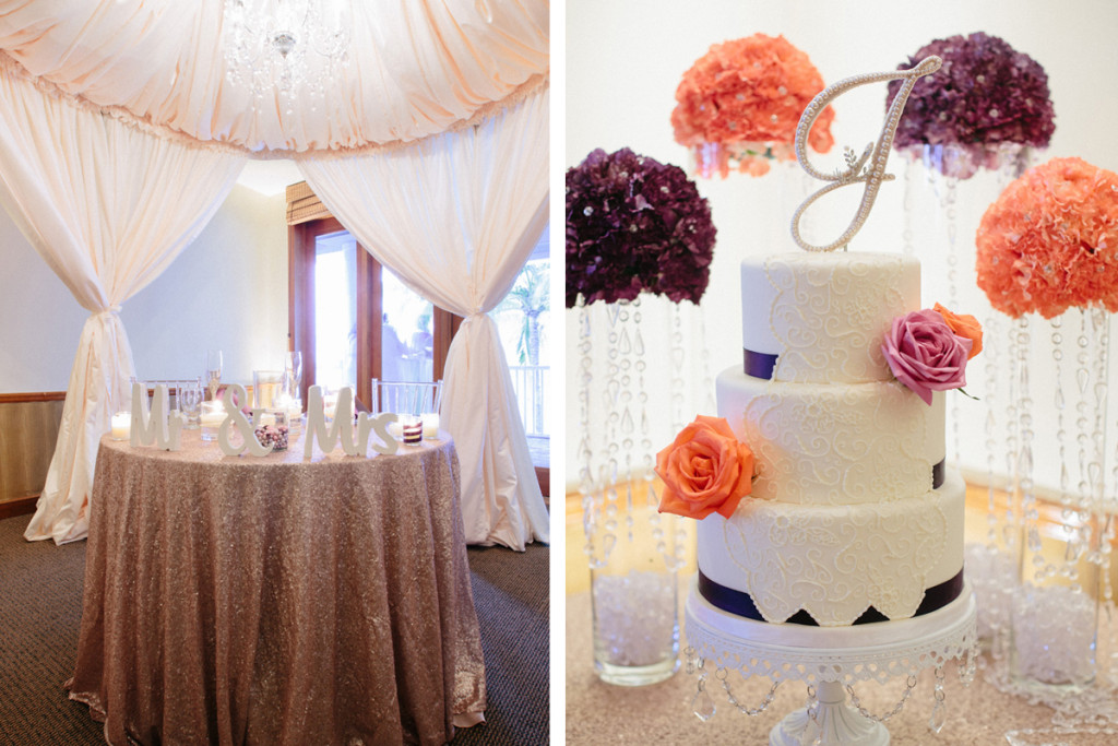 Elegant Wedding Cake with Purple Roses and Coral Roses | The Majestic Vision Wedding Planning | Sailfish Marina in Palm Beach, FL | www.themajesticvision.com | Robert Madrid Photography