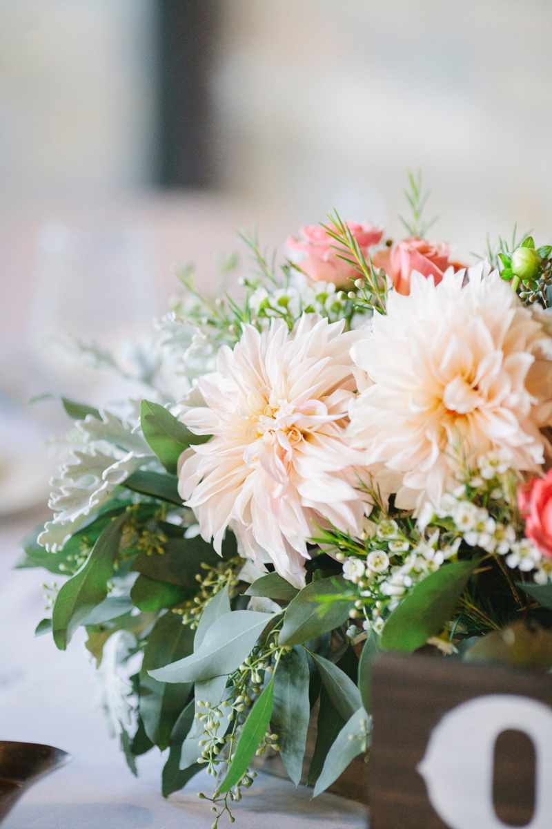 Elegant Centerpiece with Blush Dahlias, Coral Roses and Snapdragons | The Majestic Vision Wedding Planning | Pritzlaff Building in Milwaukee, WI | www.themajesticvision.com | Lisa Mathewson Photography