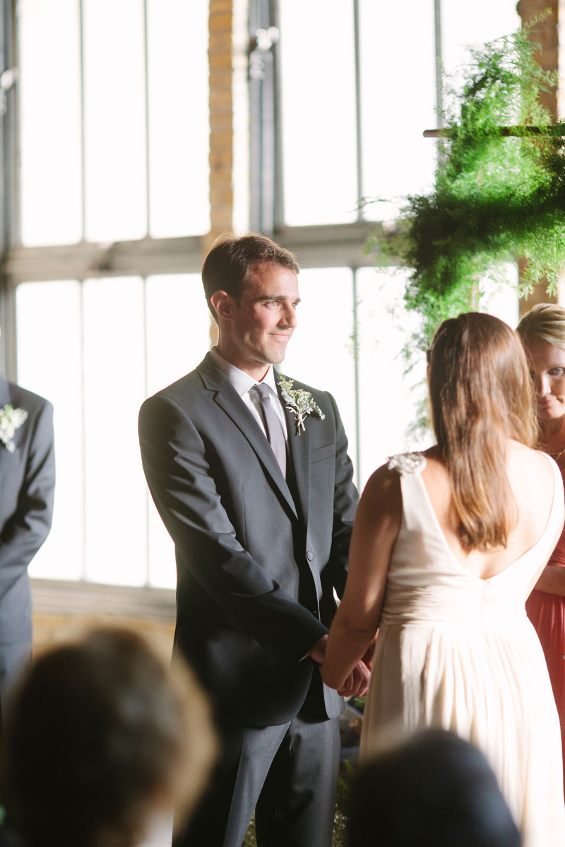 Elegant Wedding Ceremony with Garland Arch and Baby's Breath | The Majestic Vision Wedding Planning | Pritzlaff Building in Milwaukee, WI | www.themajesticvision.com | Lisa Mathewson Photography