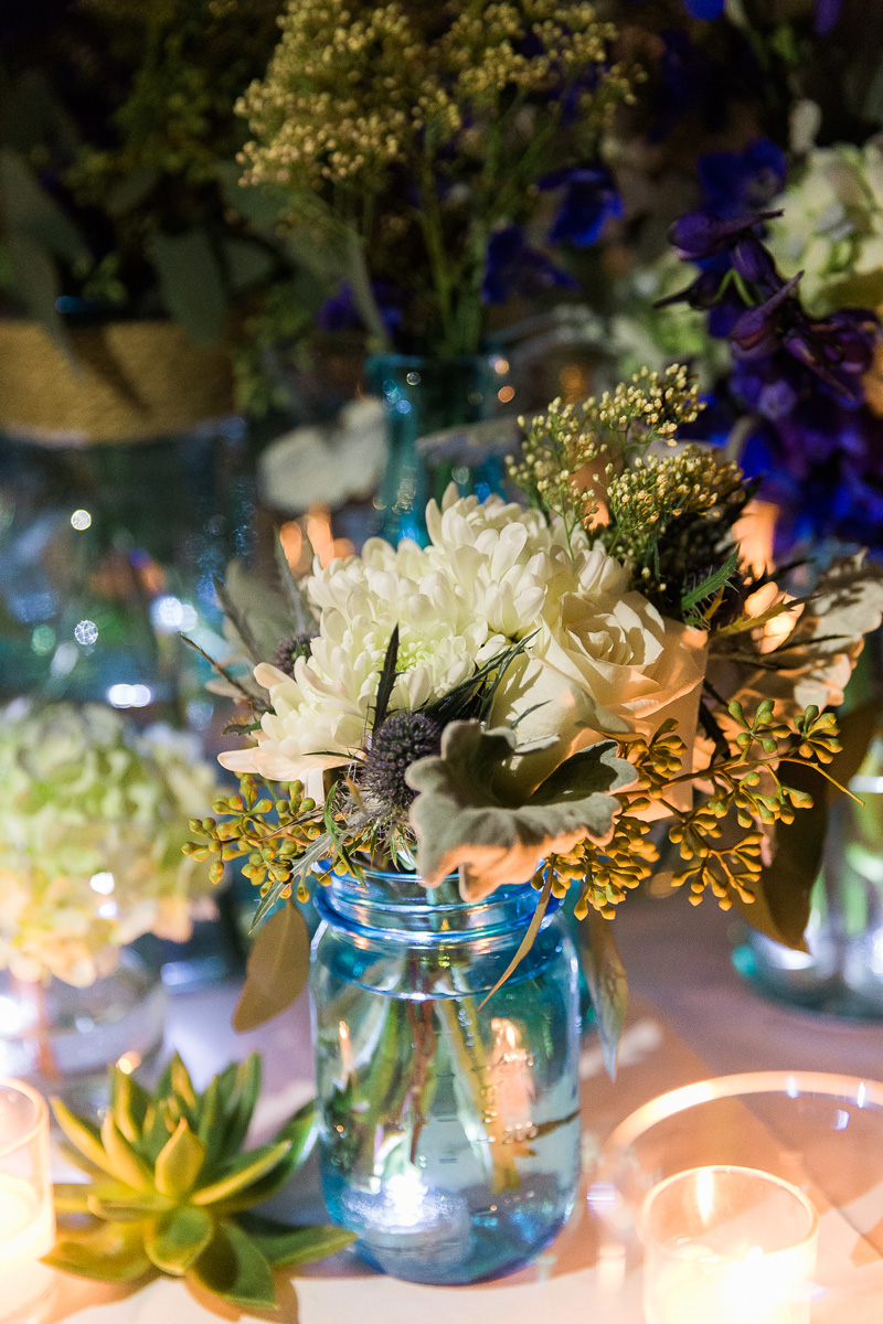 Elegant Centerpiece with Wildflowers, Blue Hydrangea and Cream Roses | The Majestic Vision Wedding Planning | Sailfish Marina in Palm Beach, FL | www.themajesticvision.com | Chris Kruger Photography