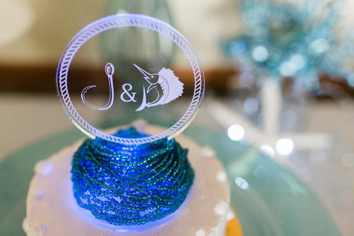 Elegant Personalized Cake Topper | The Majestic Vision Wedding Planning | Sailfish Marina in Palm Beach, FL | www.themajesticvision.com | Chris Kruger Photography