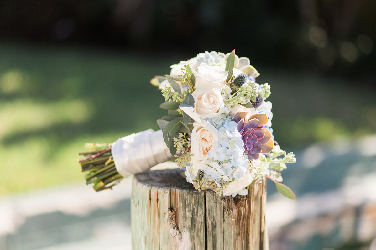 Elegant Bridal Bouquet with Succulents, Cream Roses and Blue Hydrangea | The Majestic Vision Wedding Planning | Sailfish Marina in Palm Beach, FL | www.themajesticvision.com | Chris Kruger Photography