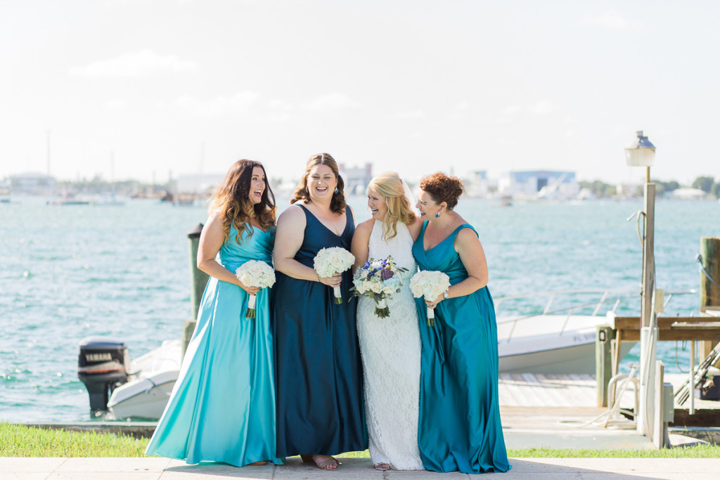 Elegant Bridal Party in Shades of Blue | The Majestic Vision Wedding Planning | Sailfish Marina in Palm Beach, FL | www.themajesticvision.com | Chris Kruger Photography