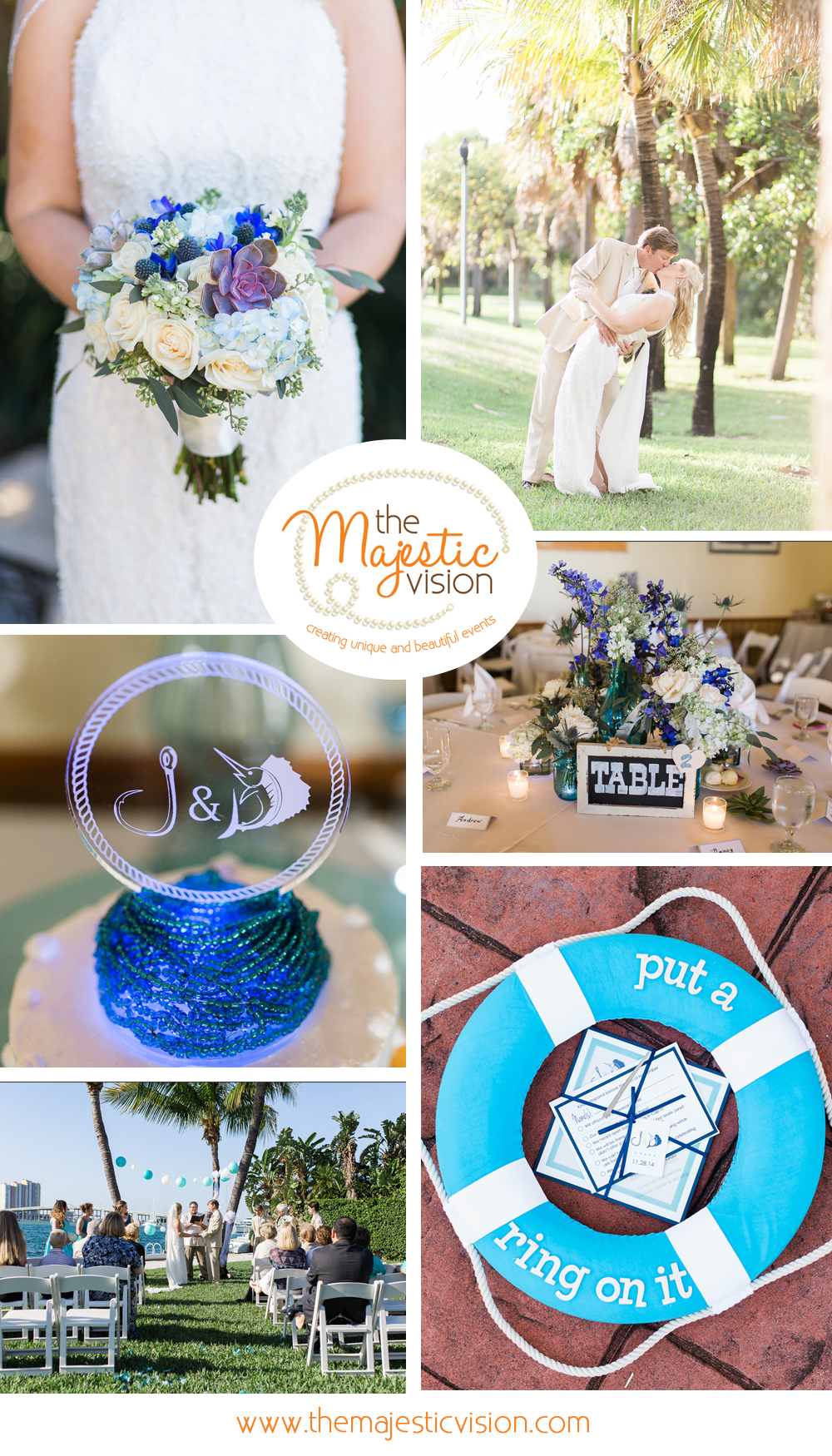 Elegant Shades of Blue Waterfront Wedding | The Majestic Vision Wedding Planning | Sailfish Marina in Palm Beach, FL | www.themajesticvision.com | Chris Kruger Photography