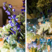 Elegant Centerpiece with Wildflowers, Blue Hydrangea and Cream Roses at Sailfish Marina in Palm Beach, FL thumbnail