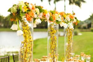 Elegant Orange and Gold Tablescape | The Majestic Vision Wedding Planning | International Polo Club in Palm Beach, FL | www.themajesticvision.com | Krystal Zaskey Photography