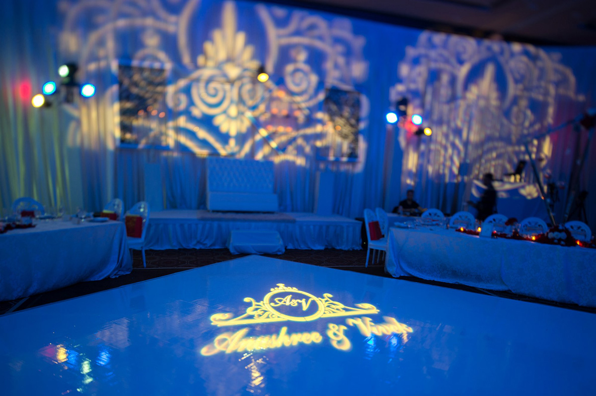 Elegant Indian Wedding Reception Dancefloor Logo | The Majestic Vision Wedding Planning | PGA National in Palm Beach, FL | www.themajesticvision.com | Haring Photography