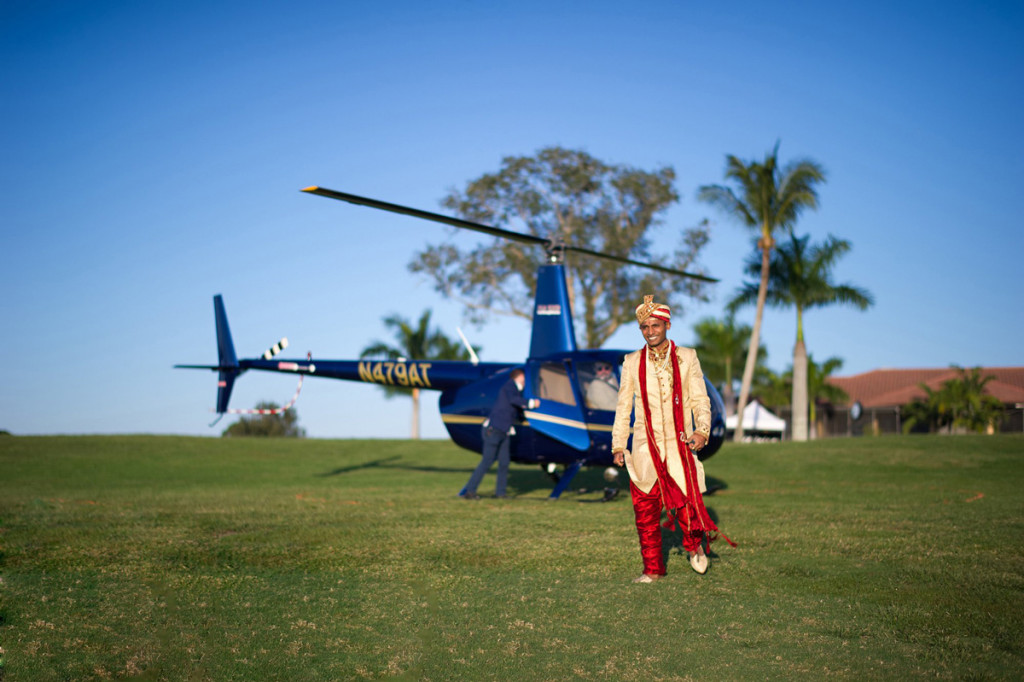 Groom Baraat Entrance via Helicopter | The Majestic Vision Wedding Planning | PGA National in Palm Beach, FL | www.themajesticvision.com | Haring Photography