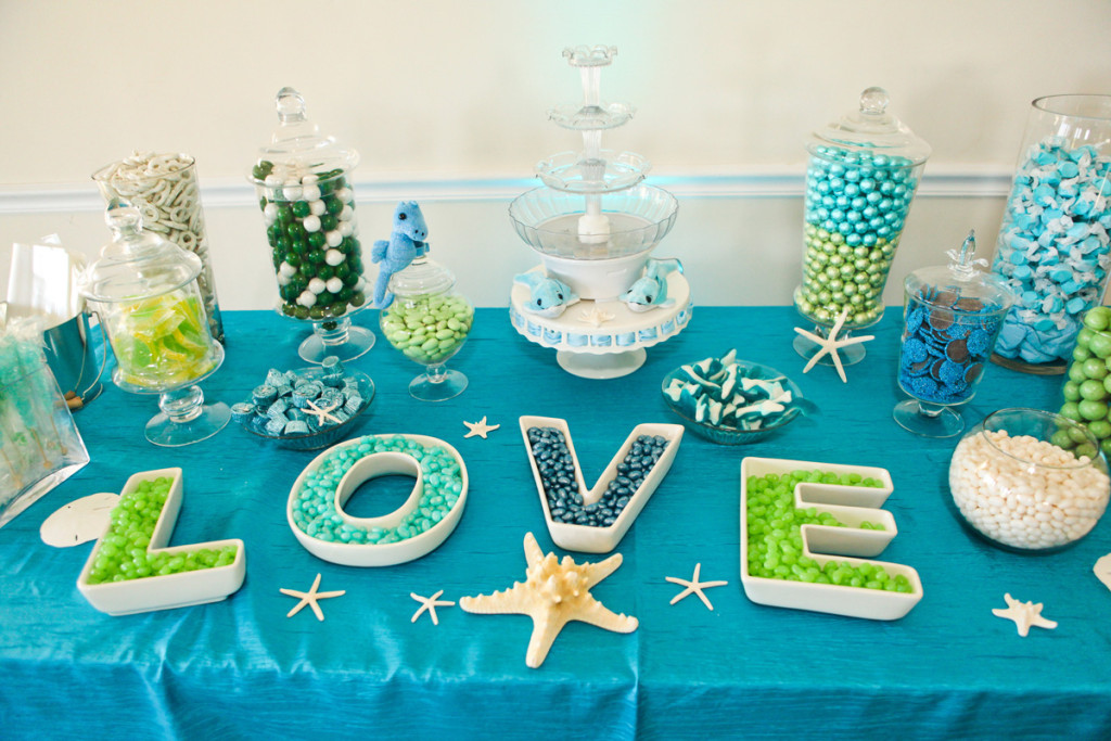 Whimsical Blue and Green Dessert Display | The Majestic Vision Wedding Planning | Palm Beach Shores in Palm Beach, FL | www.themajesticvision.com | Krystal Zaskey Photography