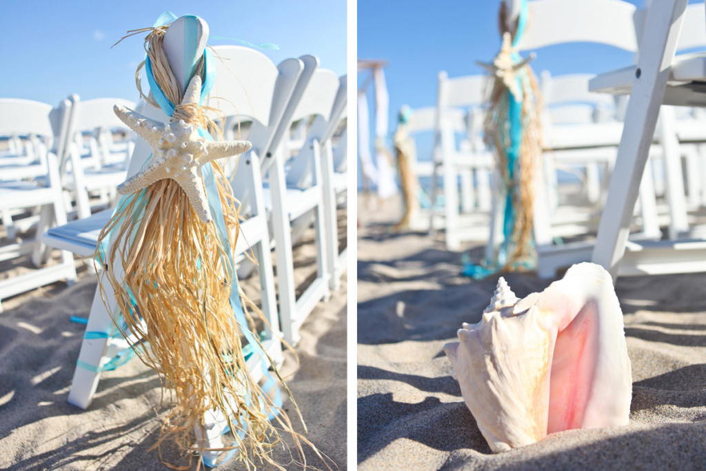Elegant Starfish and Conch Shell Aisle Markers for Beach Ceremony | The Majestic Vision Wedding Planning | Palm Beach Shores in Palm Beach, FL | www.themajesticvision.com | Krystal Zaskey Photography