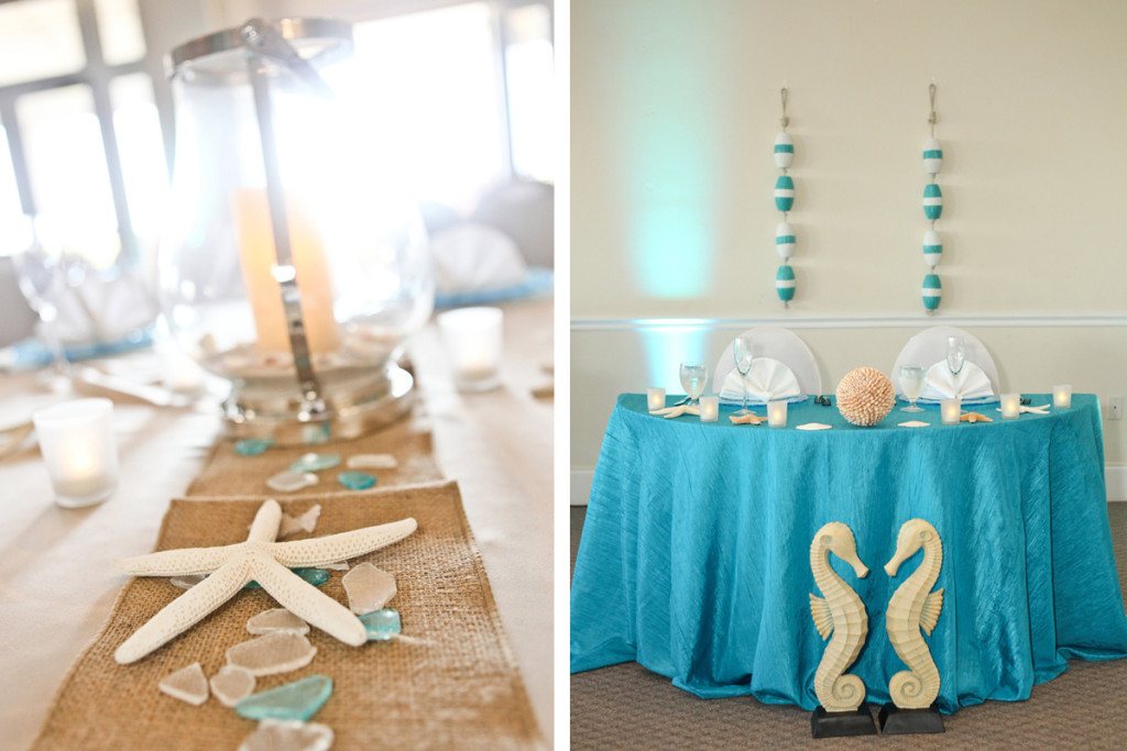 Elegant Centerpiece with Lantern, Starfish and Seaglass | The Majestic Vision Wedding Planning | Palm Beach Shores in Palm Beach, FL | www.themajesticvision.com | Krystal Zaskey Photography