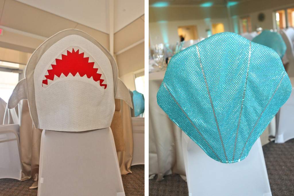 Whimsical Shark and Seashell Chair Cover for Kids Table | The Majestic Vision Wedding Planning | Palm Beach Shores in Palm Beach, FL | www.themajesticvision.com | Krystal Zaskey Photography