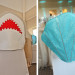 Whimsical Shark and Seashell Chair Cover for Kids Table at Palm Beach Shore in Palm Beach, FL thumbnail