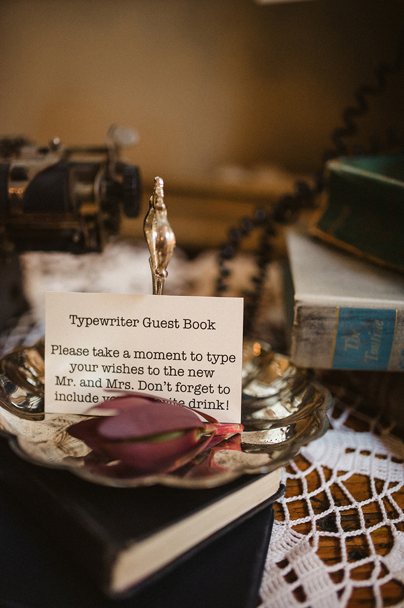 Vintage Typewriter Guestbook | The Majestic Vision Wedding Planning | Anodyne Coffee in Milwaukee, WI | www.themajesticvision.com | Elizabeth Haase Photography