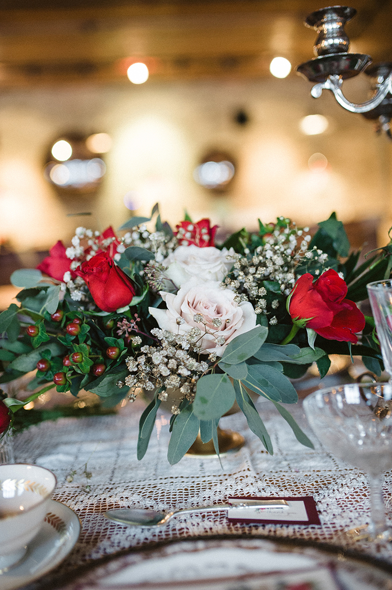 Elegant Vintage Marsala Centerpiece with Roses and Dahlias | The Majestic Vision Wedding Planning | Anodyne Coffee in Milwaukee, WI | www.themajesticvision.com | Elizabeth Haase Photography
