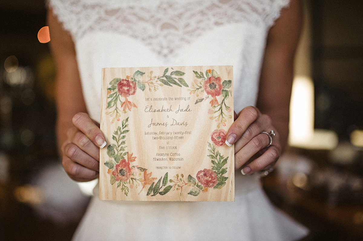 Elegant Wood Wedding Invitation | The Majestic Vision Wedding Planning | Anodyne Coffee in Milwaukee, WI | www.themajesticvision.com | Elizabeth Haase Photography